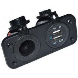 Розетка 12В SunFine Marine и 2 выхода USB (3,1А)